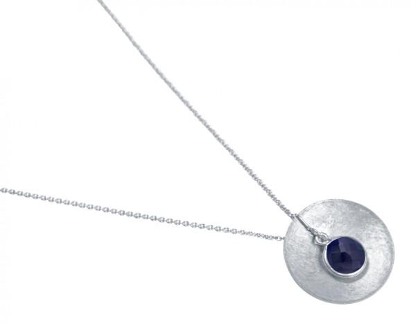 Necklace Pendant 925 Silver Shell Geometric Design Sapphire Blue 45 cm | Gemshine Schmuck