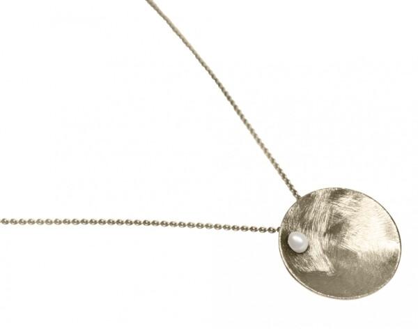 Necklace Pendant 925 Silver Shell Geometric Design Pearl White 45 cm   Gemshine Schmuck