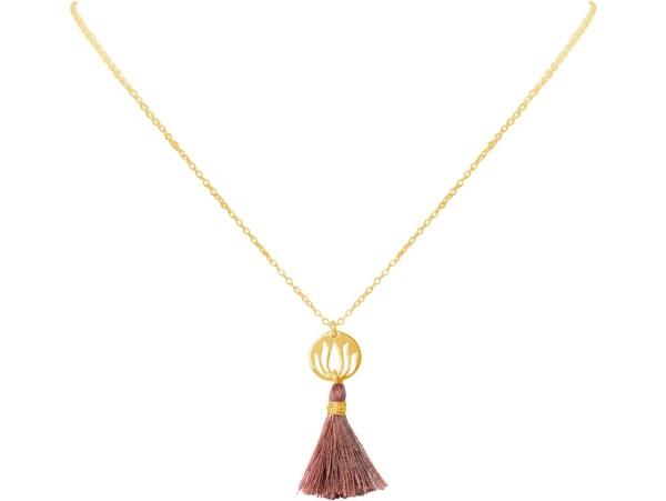 Necklace Pendant 925 Silver Gold Plated Lotus Flower Tassel Rose YOGA 45 cm | Gemshine Schmuck