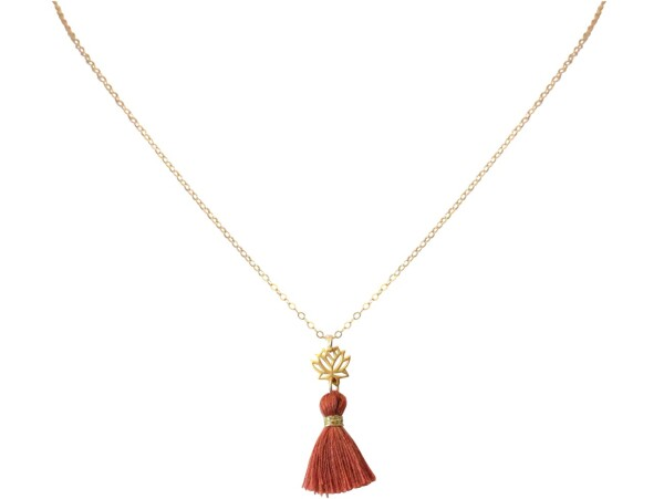 Necklace Pendant 925 Silver Gold Plated Lotus Flower Tassel Red Brown YOGA 45 cm | Gemshine Schmuck