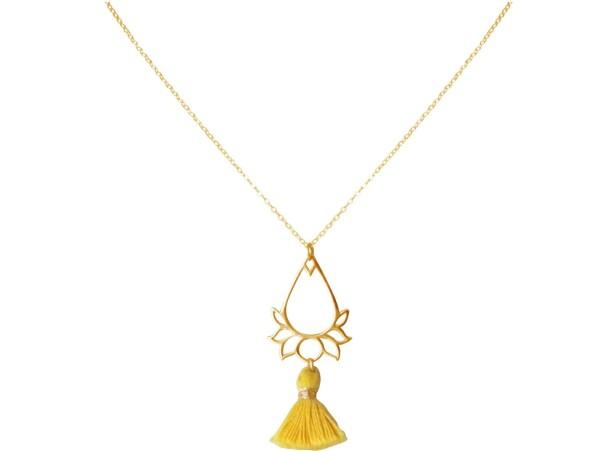 Necklace Pendant 925 Silver Gold Plated Lotus Flower Tassel Golden YOGA 45 cm   Gemshine Schmuck