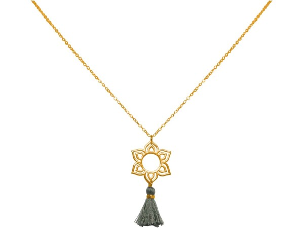 Necklace Pendant 925 Silver Gold Plated Lotus Flower Mandala Tassel Gray YOGA 45 cm | Gemshine Schmuck