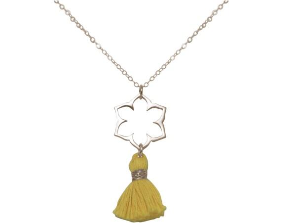 Necklace Pendant 925 Silver Lotus Flower Mandala Tassel Golden YOGA 45 cm | Gemshine Schmuck