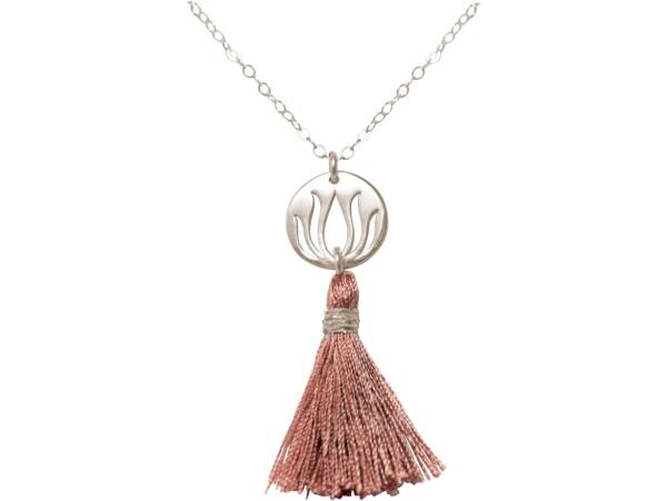 Necklace Pendant 925 Silver Lotus Flower Tassel Rose YOGA 45 cm | Gemshine Schmuck