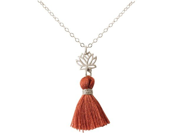 Necklace pendant 925 silver lotus flower tassel reddish brown YOGA 45 cm | Gemshine Schmuck