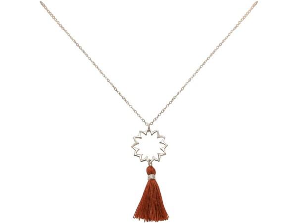 Necklace Pendant 925 Silver Mandala TasselRed brown YOGA 45 cm | Gemshine Schmuck
