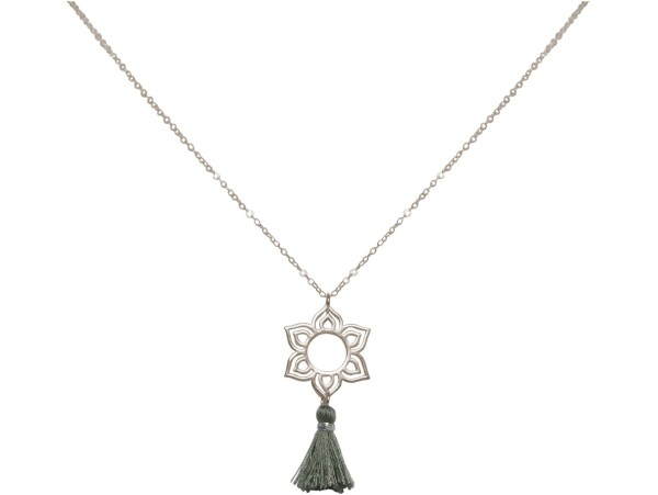 Necklace Pendant 925 Silver Lotus Flower Mandala Tassel Gray YOGA 45 cm | Gemshine Schmuck