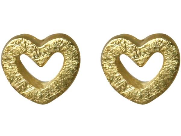 Heart Earrings Studs 925 Silver Gold Plated 7mm | Gemshine Schmuck