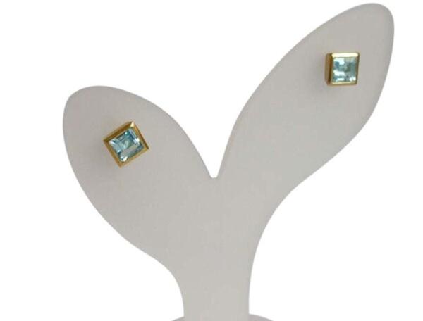 Earrings 925 Silver Gold Plated Topaz Blue 9mm | Gemshine Schmuck
