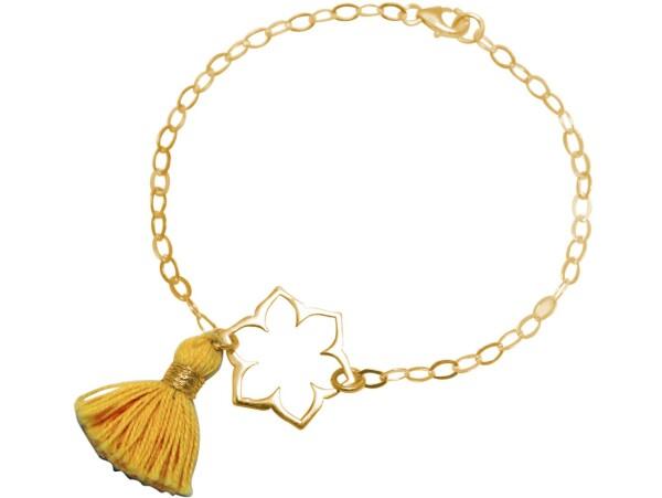 Bracelet 925 Silver Gold Plated Lotus Flower Mandala Tassel Golden Yoga   Gemshine Schmuck