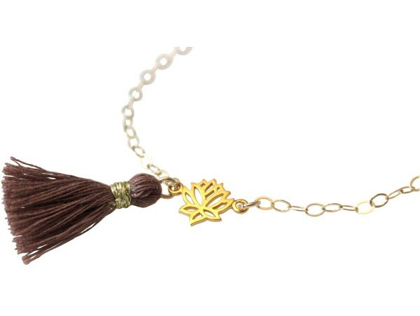 Bracelet 925 Silver Gold Plated Lotus Flower Tassel Rose YOGA 4 cm | Gemshine Schmuck
