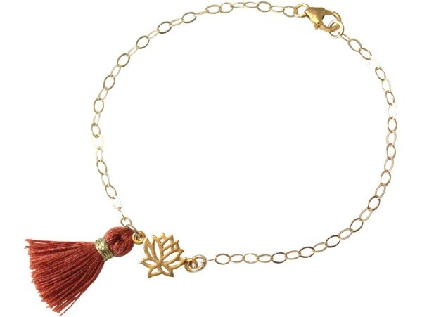 Bracelet 925 Silver Gold Plated Lotus Flower TasselRed Brown YOGA | Gemshine Schmuck
