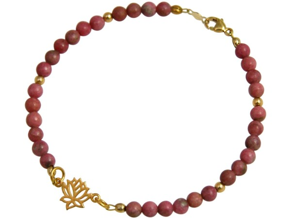 Bracelet 925 Silver Gold Plated Lotus Flower Gemstone Pink YOGA | Gemshine Schmuck