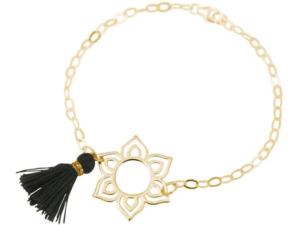 Bracelet 925 Silver Gold Plated Lotus Flower Mandala Tassel Gray YOGA   Gemshine Schmuck