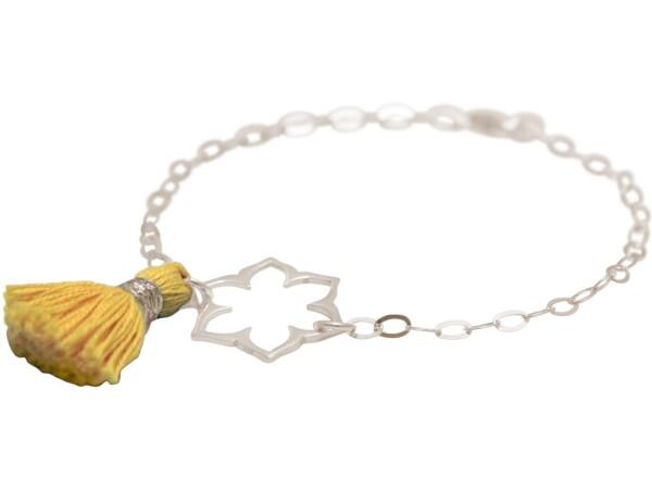 Bracelet 925 Silver Lotus Flower Mandala Tassel Golden Yoga | Gemshine Schmuck