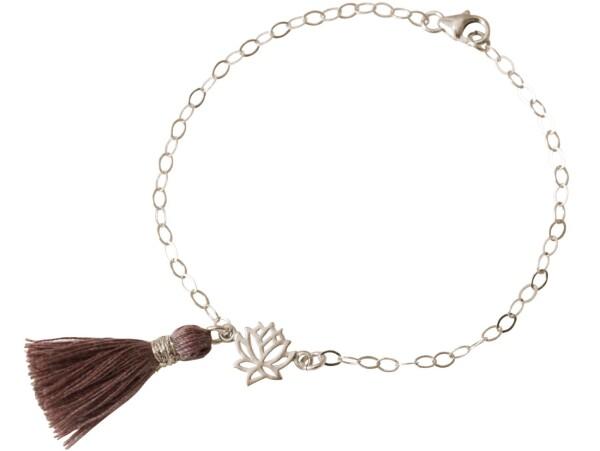 Bracelet 925 Silver Lotus Flower Tassel Rose YOGA 4 cm   Gemshine Schmuck