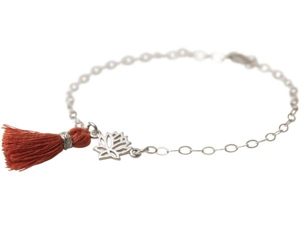 Bracelet 925 Silver Lotus Flower TasselRed brown YOGA   Gemshine Schmuck
