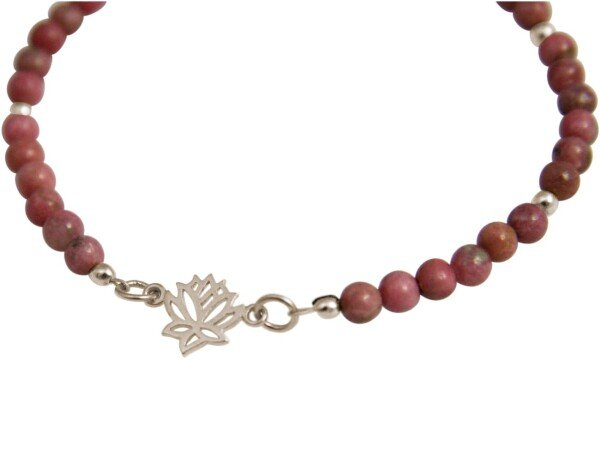Bracelet 925 Silver Lotus Flower GemstonePink YOGA   Gemshine Schmuck