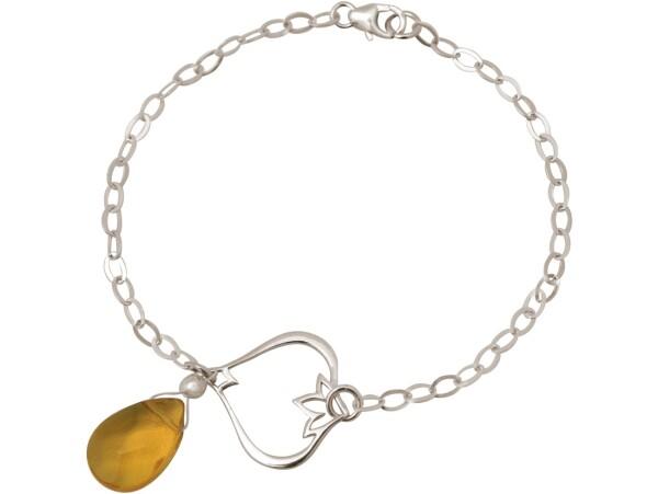 Bracelet 925 Silver Lotus Flower Citrine Quartz Drop Gold Gold Yellow YOGA | Gemshine Schmuck