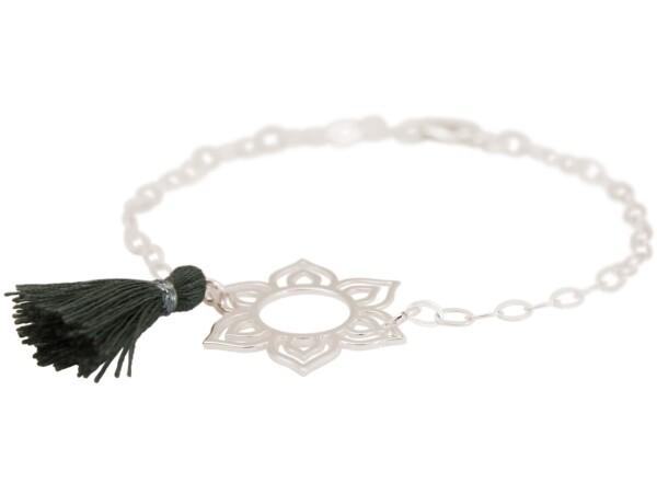Bracelet 925 Silver Lotus Flower Mandala Tassel Gray YOGA | Gemshine Schmuck
