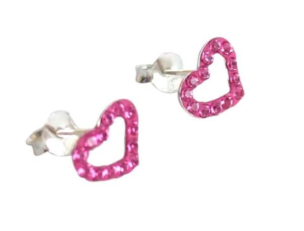 Heart earrings 925 silver pink 1 cm   Gemshine Schmuck