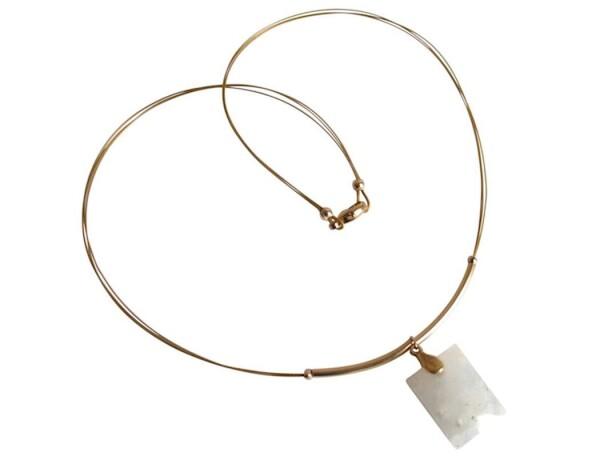Necklace Pendant Gilded Moonstone White 45 cm   Gemshine Schmuck