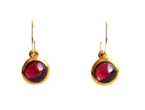 Earrings 925 Silver Gold Plated Garnet Red 20mm   Gemshine Schmuck