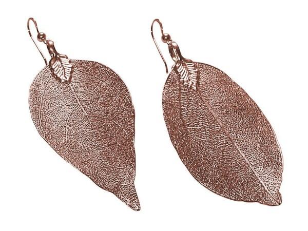 Earrings Rose Gold Leaf Rose Nature 7 cm | Gemshine Schmuck