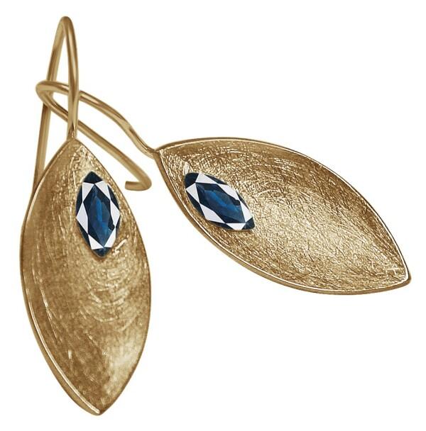 Earrings Earrings 925 Silver Gold Plated Marquise Minimalist Design Iolite Blue 3 cm | Gemshine Schmuck