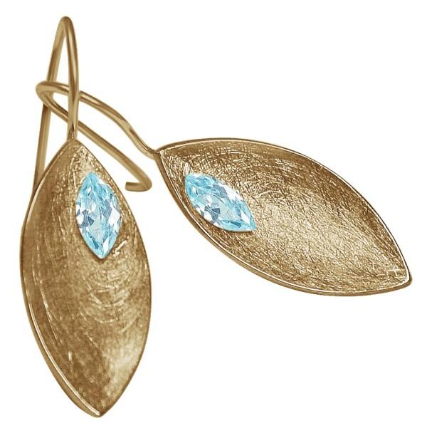 Earrings Earrings 925 Silver Gold Plated Marquise Minimalist Design Topaz Blue 3 cm   Gemshine Schmuck