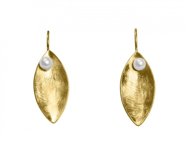 Earrings Dangle 925 Silver Gold Plated Marquise Minimalist Design Pearl White 3 cm | Gemshine Schmuck