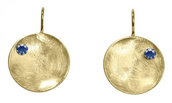 Earrings Dangle 925 Silver Gold Plated Shell Geometric Design Iolite Blue 3 cm | Gemshine Schmuck