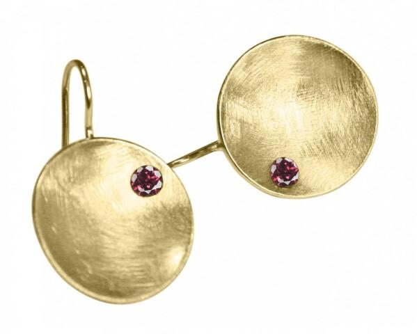 Earrings Earrings 925 Silver Gold Plated Shell Geometric Design Garnet Red 3 cm   Gemshine Schmuck
