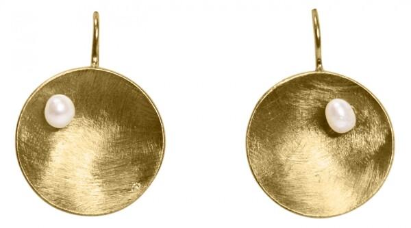 Earrings Dangle 925 Silver Gold Plated Shell Geometric Design Pearl White 3 cm   Gemshine Schmuck