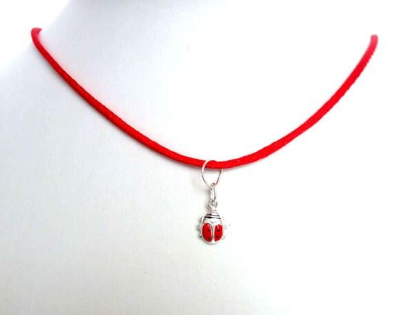 Pendant Ladybug Necklace 925 Silver 7 mm   Gemshine Schmuck