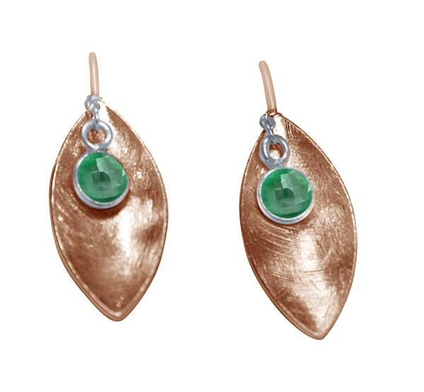 Earrings Earrings 925 Silver Rose Gold Plated Marquise Minimalist Design Emerald Green 3 cm   Gemshine Schmuck