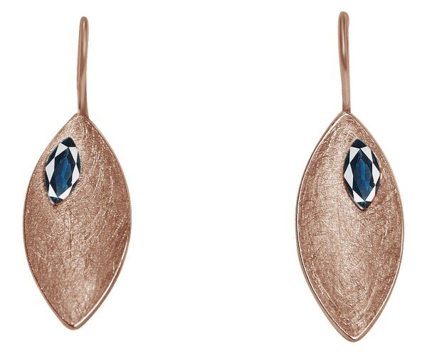 Earrings Earrings 925 Silver Rose Gold Plated Marquise Minimalist Design Iolite Blue 3 cm | Gemshine Schmuck