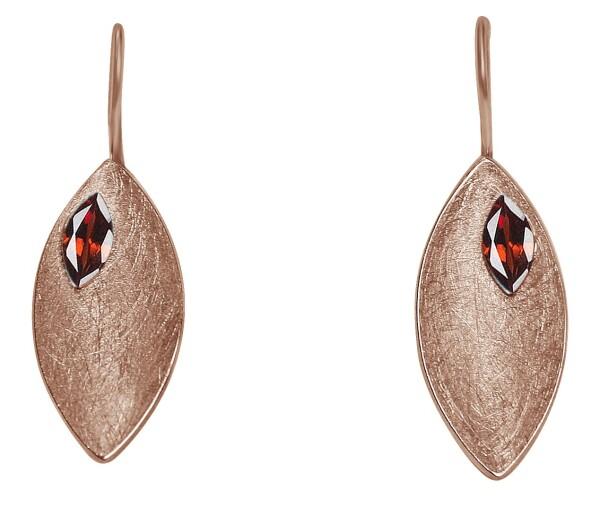 Earrings Earrings 925 Silver Rose Gold Plated Marquise Minimalist Design Garnet Red 3 cm | Gemshine Schmuck
