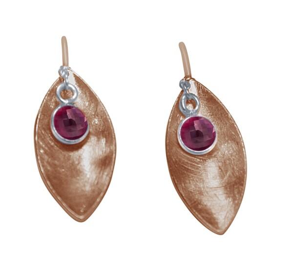 Earrings Earrings 925 Silver Rose Gold Marquise Minimalist DesignRubinRed 3 cm   Gemshine Schmuck