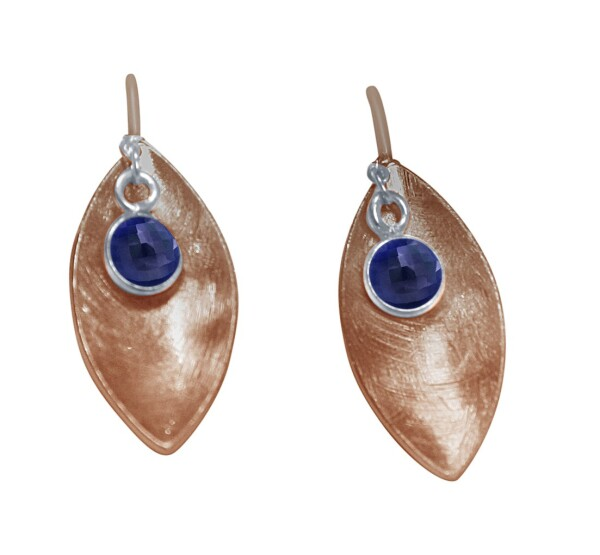 Earrings Earrings 925 Silver Rose Gold Marquise Minimalist Design Sapphire Blue 3 cm | Gemshine Schmuck