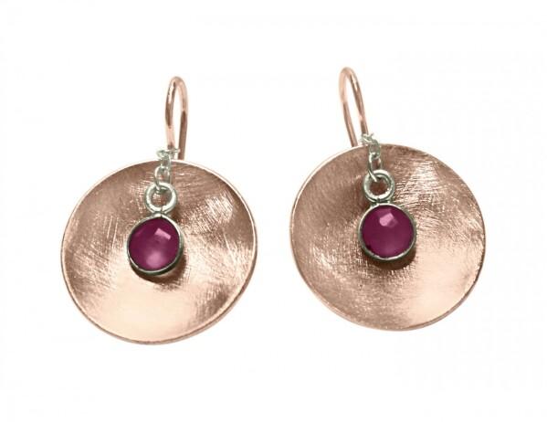 Earrings Earrings 925 Silver Rose Gold Plated Shell Geometric Design Ruby Red 3 cm   Gemshine Schmuck