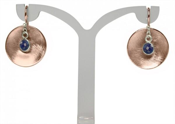 Earrings Earrings 925 Silver Rose Gold Plated Shell Geometric Design Sapphire Blue 3 cm   Gemshine Schmuck