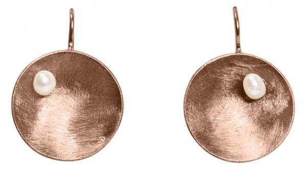 Earrings Earrings 925 Silver Rose Gold Plated Shell Geometric Design Pearl White 3 cm   Gemshine Schmuck
