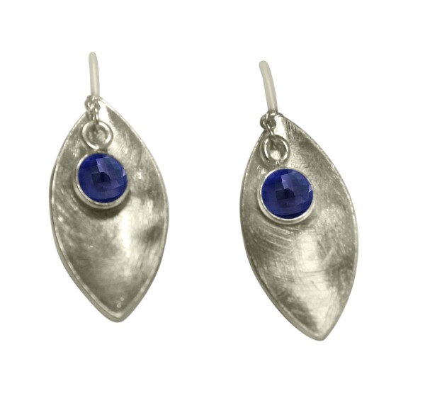 Earrings 925 Silver Marquise Minimalist Design Sapphire Blue 3 cm | Gemshine Schmuck