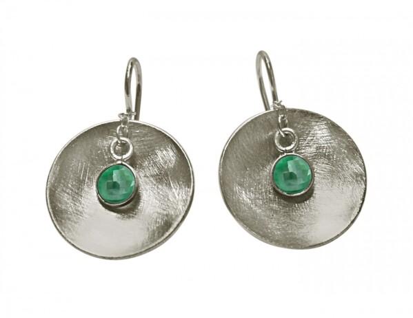 Earrings Earrings 925 Silver Shell Geometric Design Emerald Green 3 cm | Gemshine Schmuck