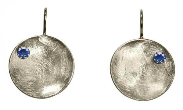 Earrings Earrings 925 Silver Shell Geometric Design Iolite Blue 3 cm | Gemshine Schmuck