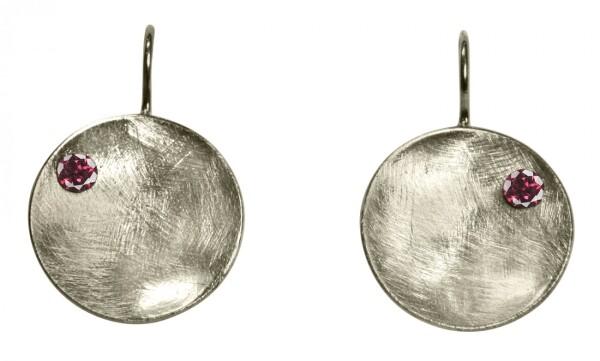 Earrings Earrings 925 Silver Shell Geometric Design Garnet Red 3 cm | Gemshine Schmuck