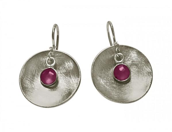 Earrings Earrings 925 Silver Shell Geometric DesignRubinRed 3 cm | Gemshine Schmuck