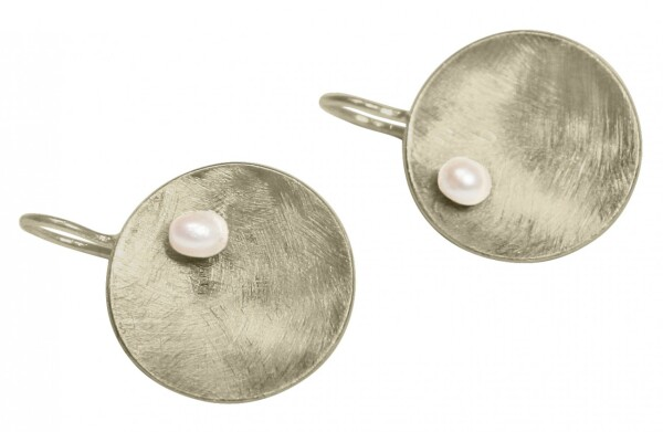 Earrings Earrings 925 Silver Shell Geometric Design Pearl White 3 cm | Gemshine Schmuck