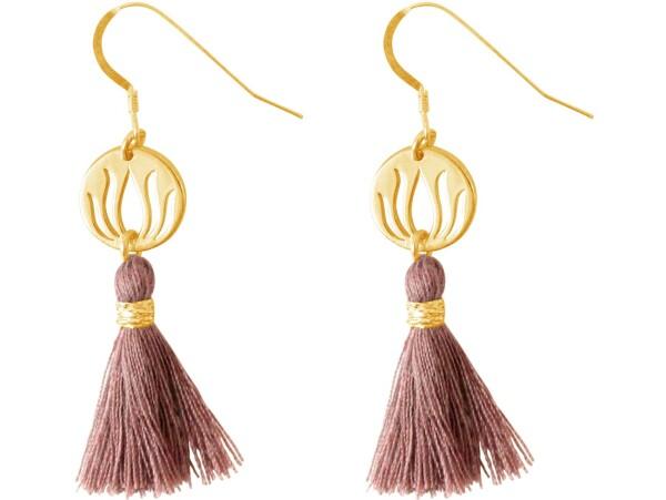 Earrings Earrings 925 Silver Gold Plated Lotus Flower Tassel Rose YOGA 4 cm | Gemshine Schmuck